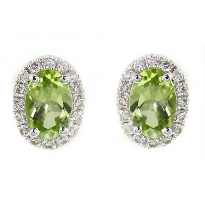 Sheldon Bloomfield 18ct white gold 0.98ct peridot & 0.19ct diamond stud earrings.
