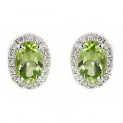 18ct white gold 0.98ct peridot & 0.19ct diamond stud earrings.