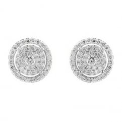 18ct white gold 0.99ct invisible set diamond cluster earrings