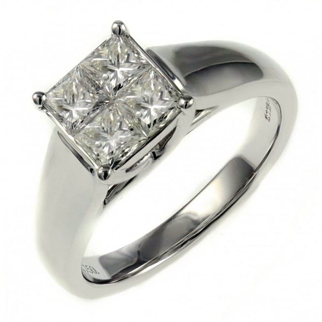 18ct white gold 0.99ct invisible set princess cut diamond ring.