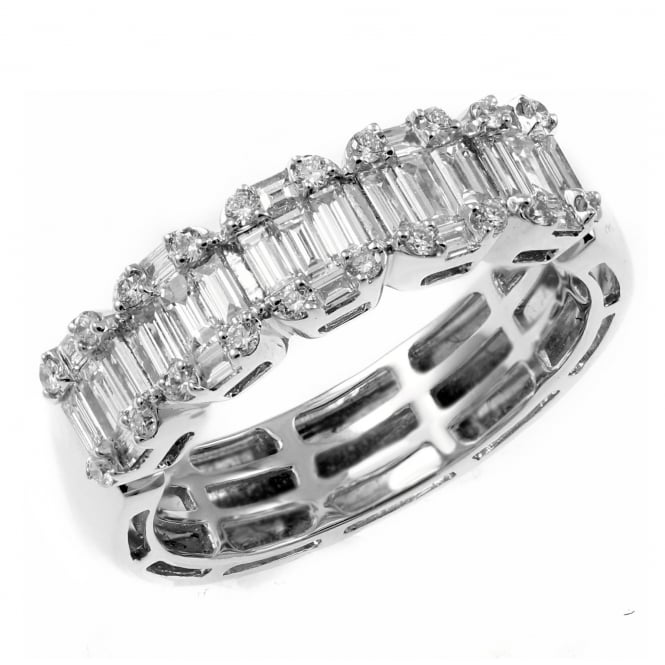 18ct white gold 1.00ct baguette cluster eternity ring.