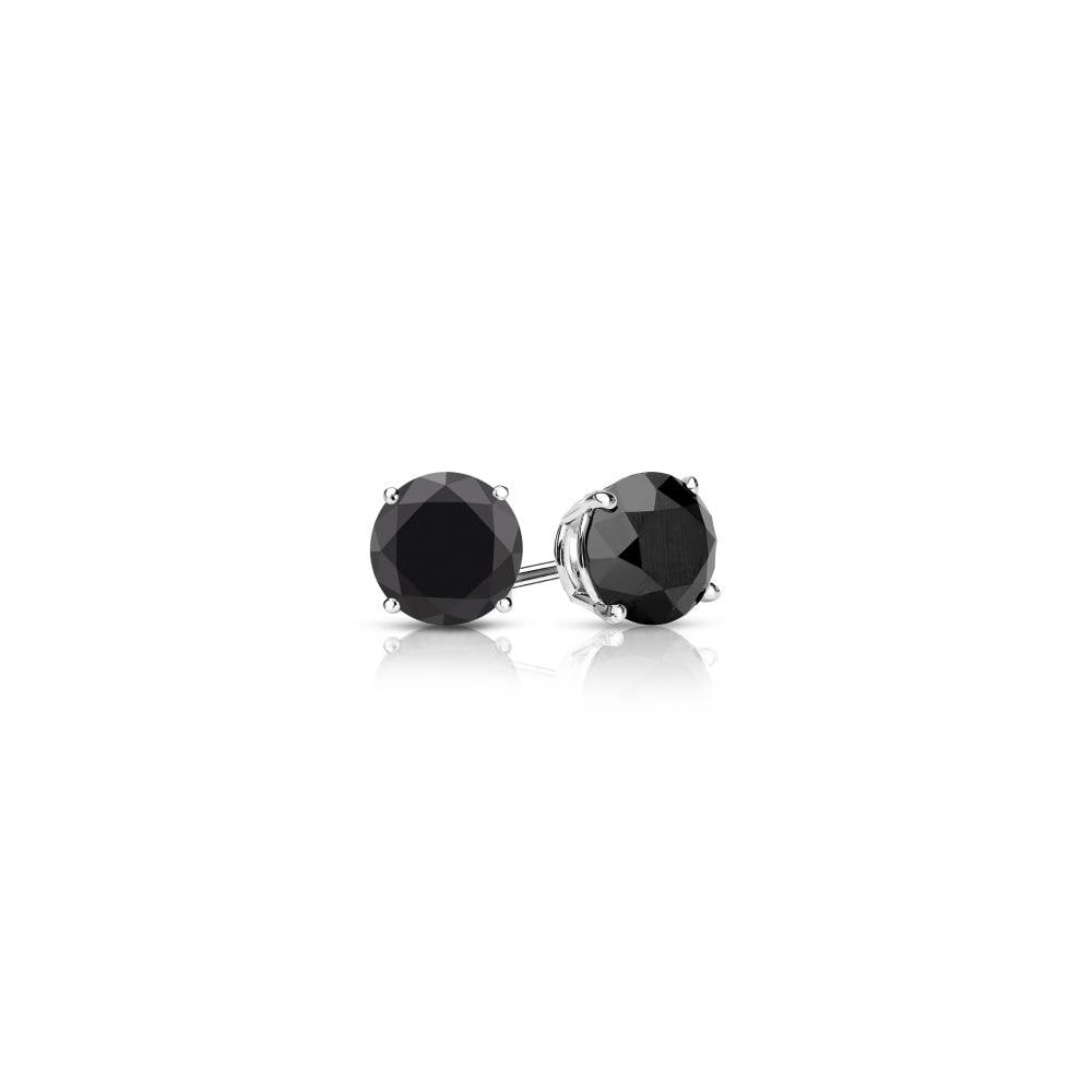 18ct White Gold 1 00ct Black Diamond Stud Earrings
