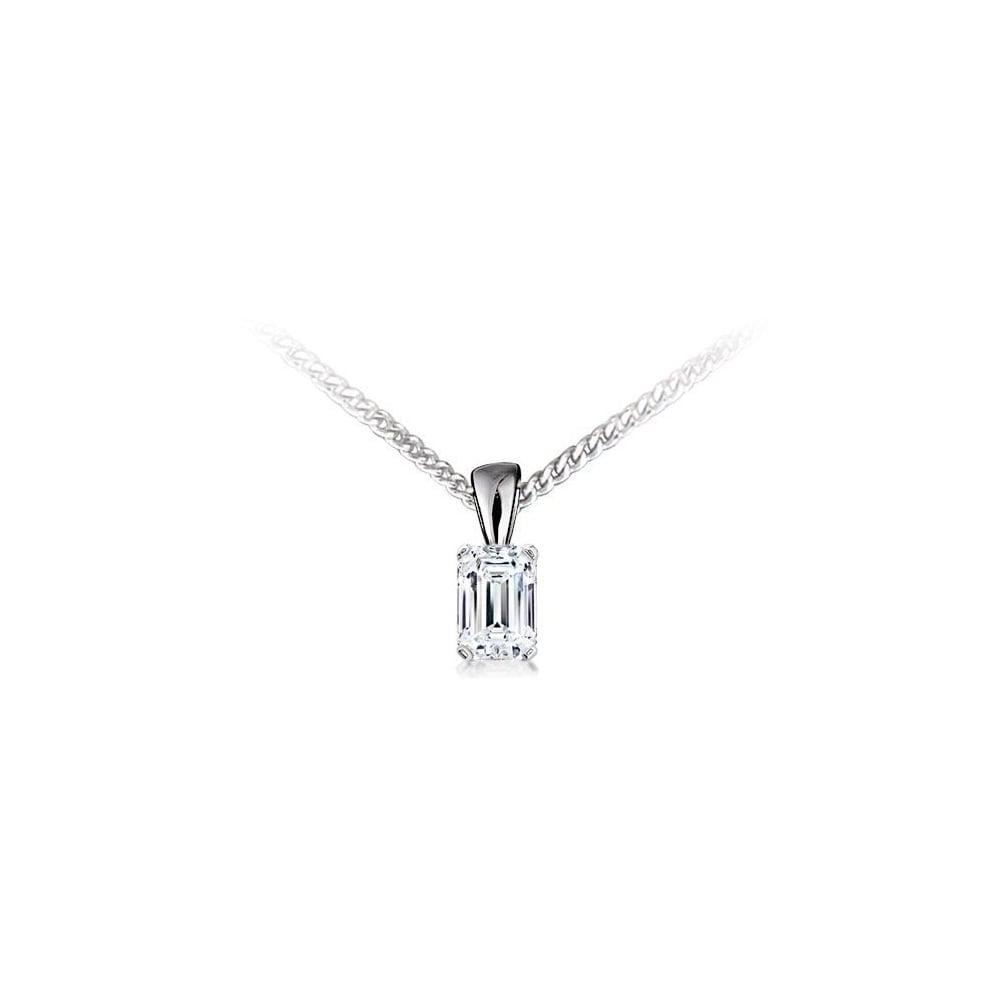 18ct white gold 100ct g vs2 egl emerald cut diamond pendant 18ct white gold 100ct g vs2 egl emerald cut diamond pendant aloadofball Choice Image