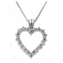 18ct white gold 1.00ct open heart shaped diamond pendant