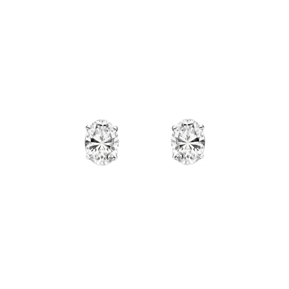 18ct White Gold 1 00ct Oval Diamond Stud Earrings