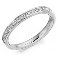 18ct white gold 1.00ct princess cut diamond full eternity ring.