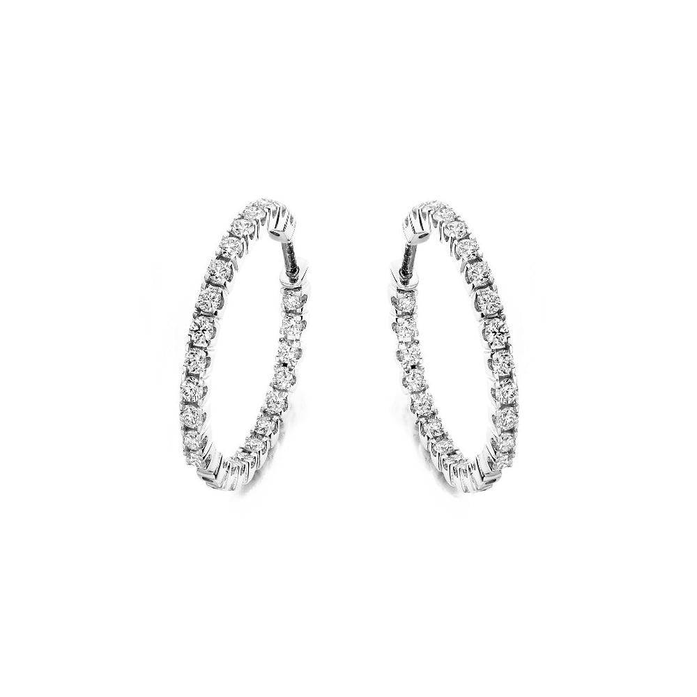 18ct White Gold 1 00ct Round Brilliant Cut Diamond Hoop Earrings