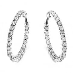 18ct white gold 1.00ct round brilliant cut diamond hoop earrings