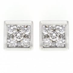 18ct white gold 1.00ct square diamond stud earrings.
