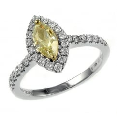 18ct white gold 1.01ct yellow diamond halo ring.