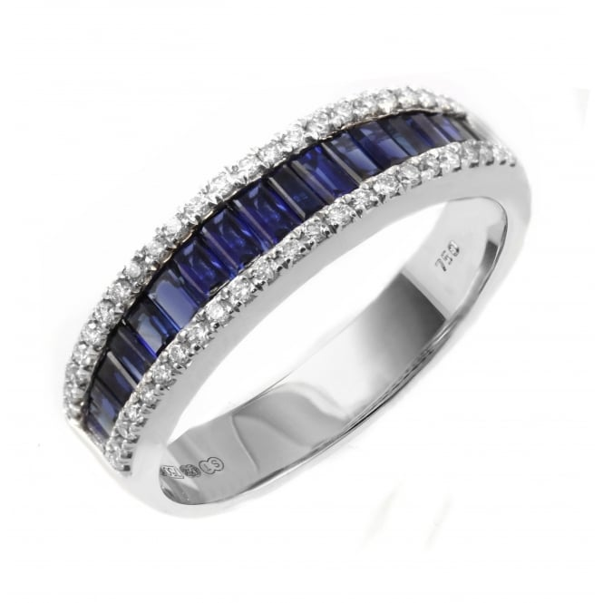 18ct white gold 1.02ct sapphire & 0.20ct diamond ring.