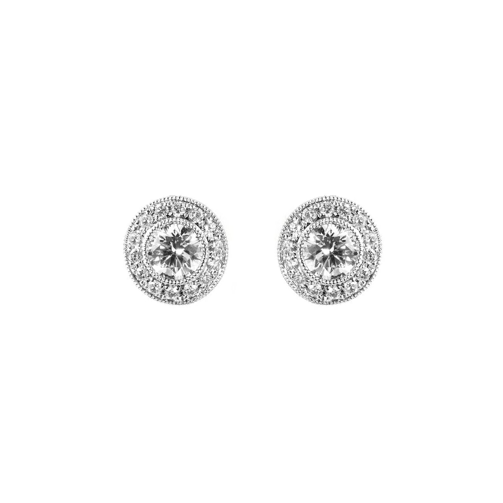diamond stud jewellery gold white earrings circular halo image