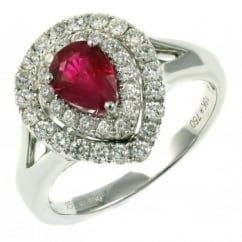 18ct white gold 1.03ct ruby & 0.56ct diamond double halo ring.
