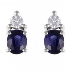 18ct white gold 1.05ct sapphire & 0.14ct diamond stud earrings.