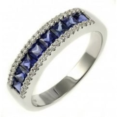 18ct white gold 1.08ct sapphire & 0.17ct diamond eternity ring.