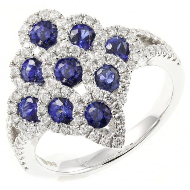 Rosabella 18ct white gold 1.08ct sapphire & 0.66ct diamond peacock ring.