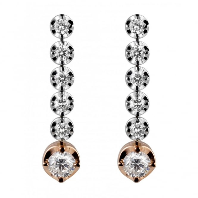 Rosabella 18ct white gold 1.10ct round brilliant diamond drop earrings.