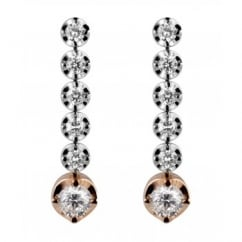 18ct white gold 1.10ct round brilliant diamond drop earrings.