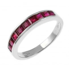 18ct white gold 1.10ct ruby half eternity ring.