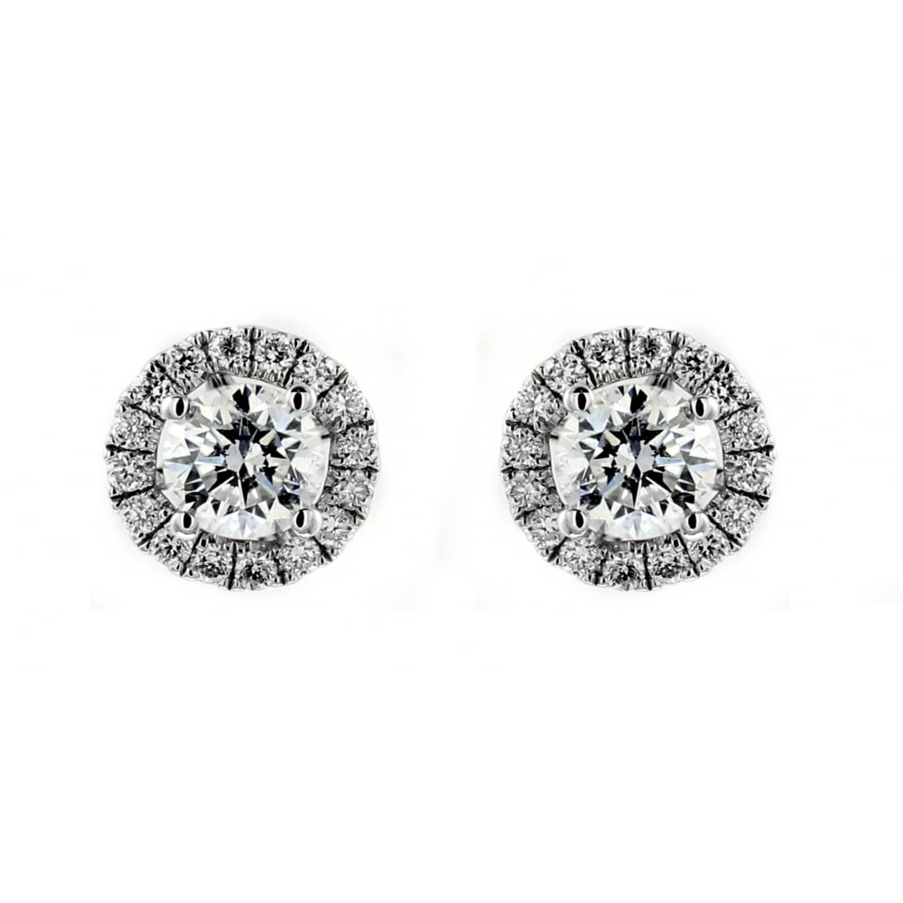 gold halo cz cluster round silver stud earrings