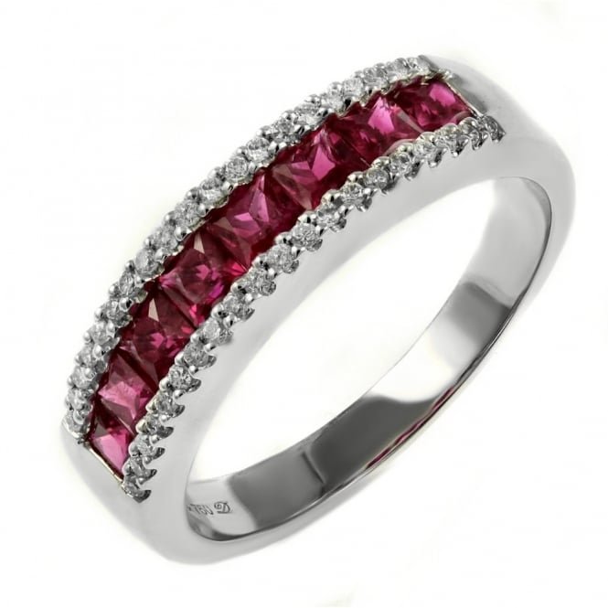 18ct white gold 1.20ct ruby & 0.17ct diamond eternity ring.