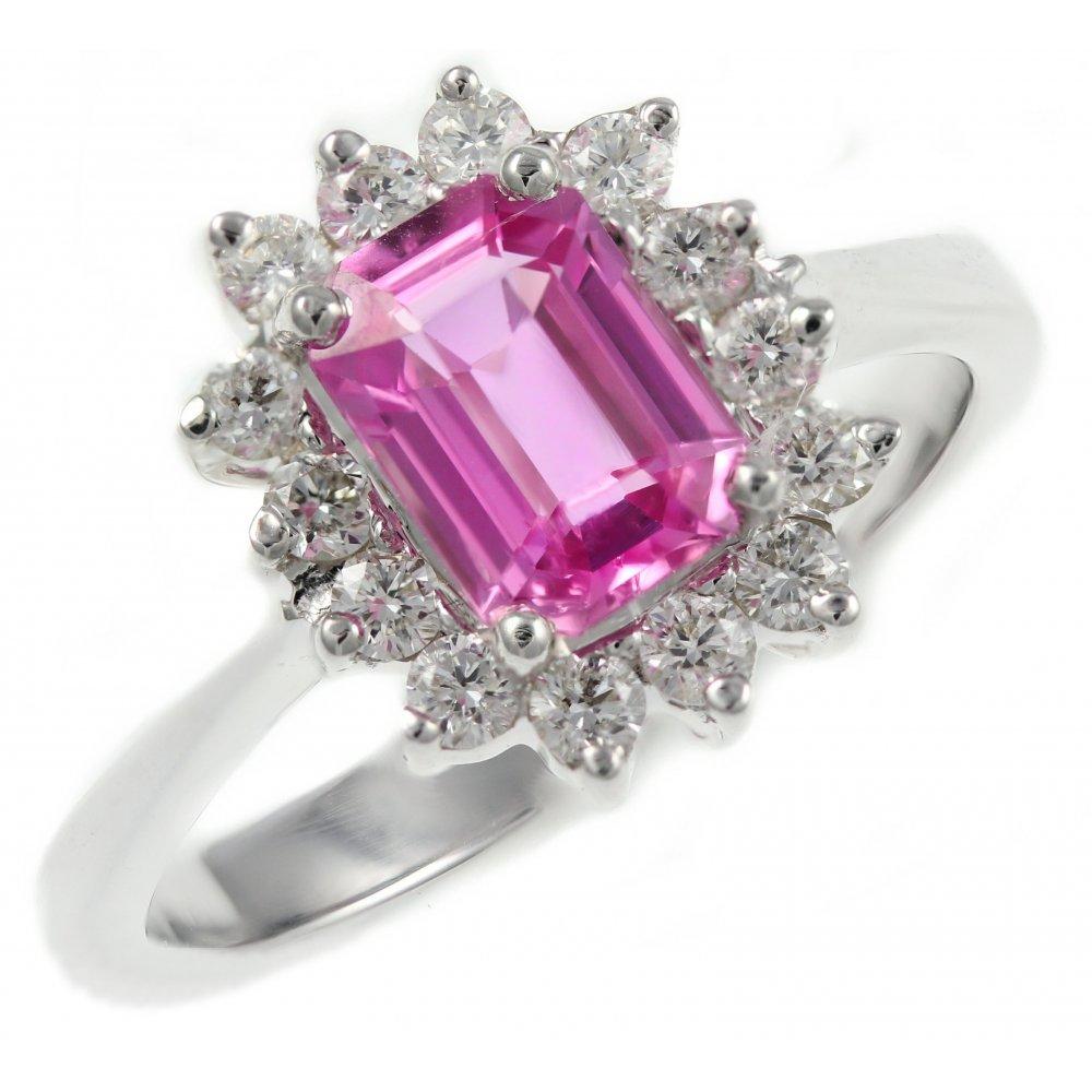 18ct white gold 1.25ct pink sapphire & 0.35ct diamond ring ...