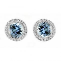 18ct white gold 1.26ct aquamarine & 0.16ct diamond earrings.