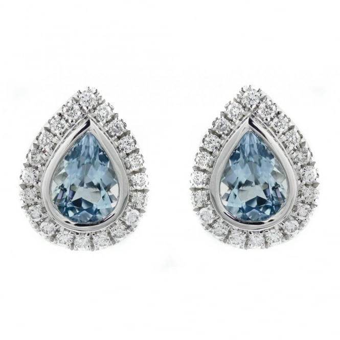 Sheldon Bloomfield 18ct white gold 1.26ct aquamarine & 0.32ct diamond earrings.