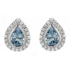 18ct white gold 1.26ct aquamarine & 0.32ct diamond earrings.