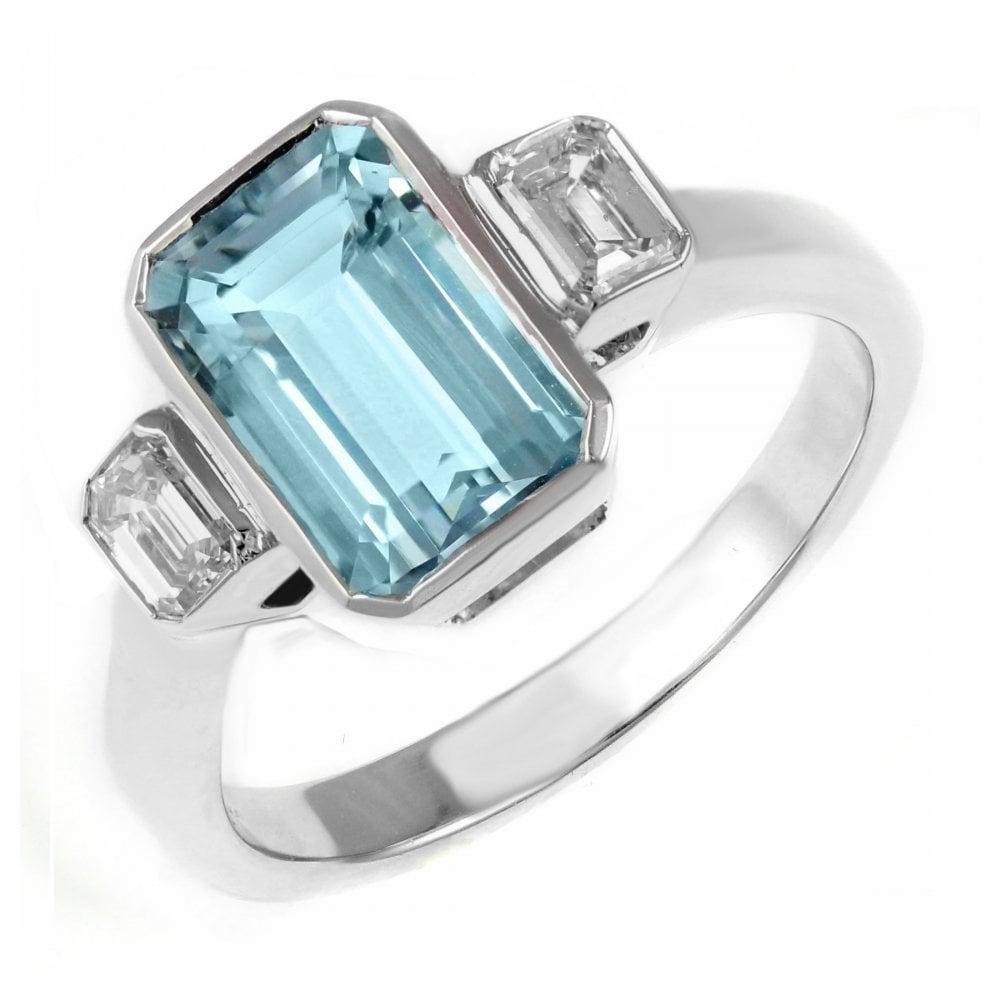 6436942c46608 18ct white gold 1.32ct aquamarine & 0.56ct diamond 3 stone ring
