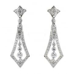 18ct white gold 1.32ct diamond art deco drop earrings.