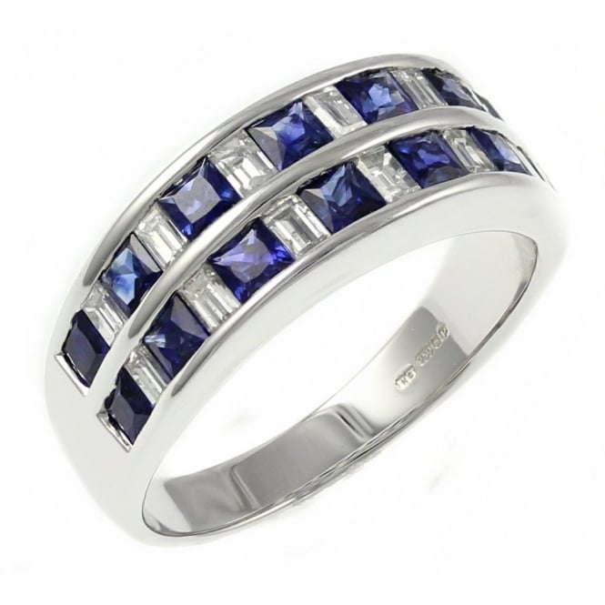 18ct white gold 1.33ct sapphire & 0.62ct diamond double channel