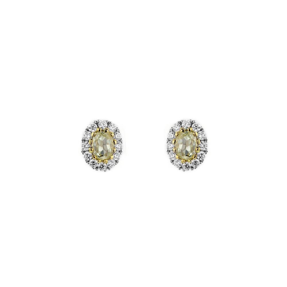 18ct White Gold 1 34ct Yellow Diamond Oval Cer Earings