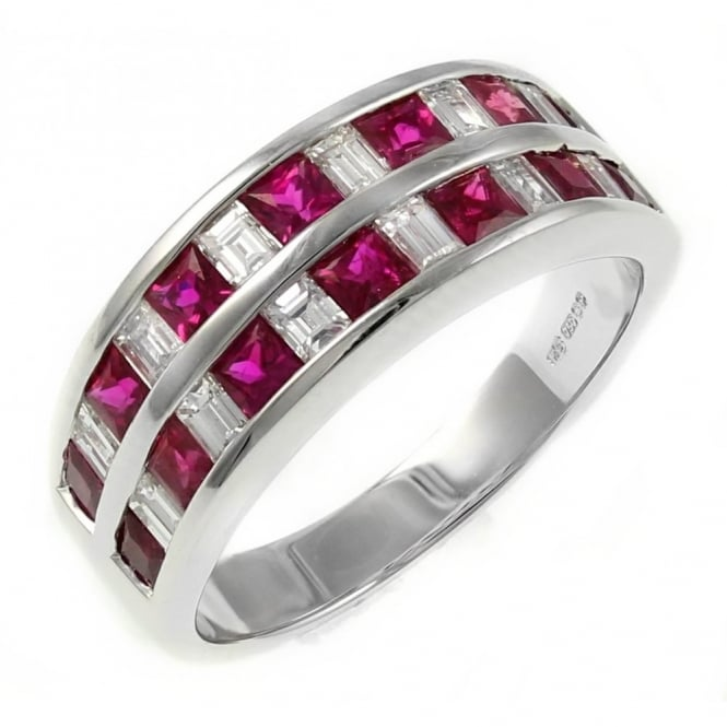 18ct white gold 1.37ct ruby & 0.70ct diamond 2 row eternity ring
