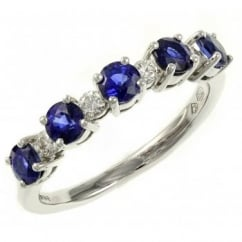 18ct white gold 1.38ct sapphire & 0.16ct diamond eternity ring.