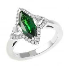 18ct white gold 1.42ct tsavorite garnet & 0.50ct diamond ring.