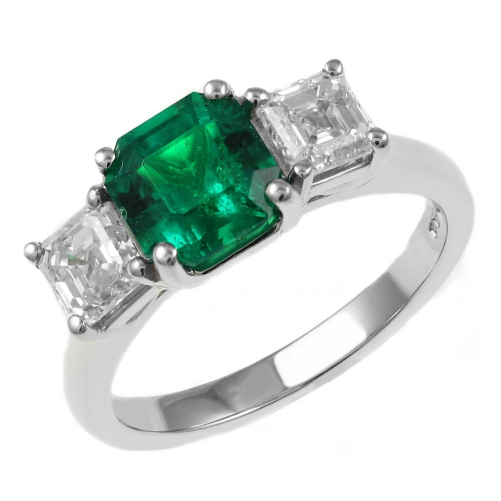 ring gemstone princess emerald shop cut stone diamond by product rings