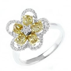 18ct white gold 1.46ct yellow diamond flower cluster ring.