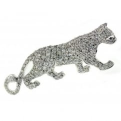 18ct white gold 1.50ct diamond set panther brooch.