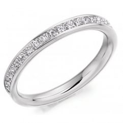 18ct white gold 1.50ct princess cut diamond full eternity ring.