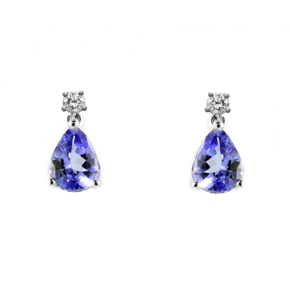 18ct White Gold 1 50ct Tanzanite 0 20ct Diamond Drop Earrings