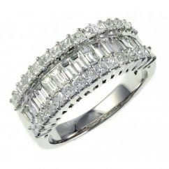18ct white gold 1.51ct baguette & princess diamond eternity ring
