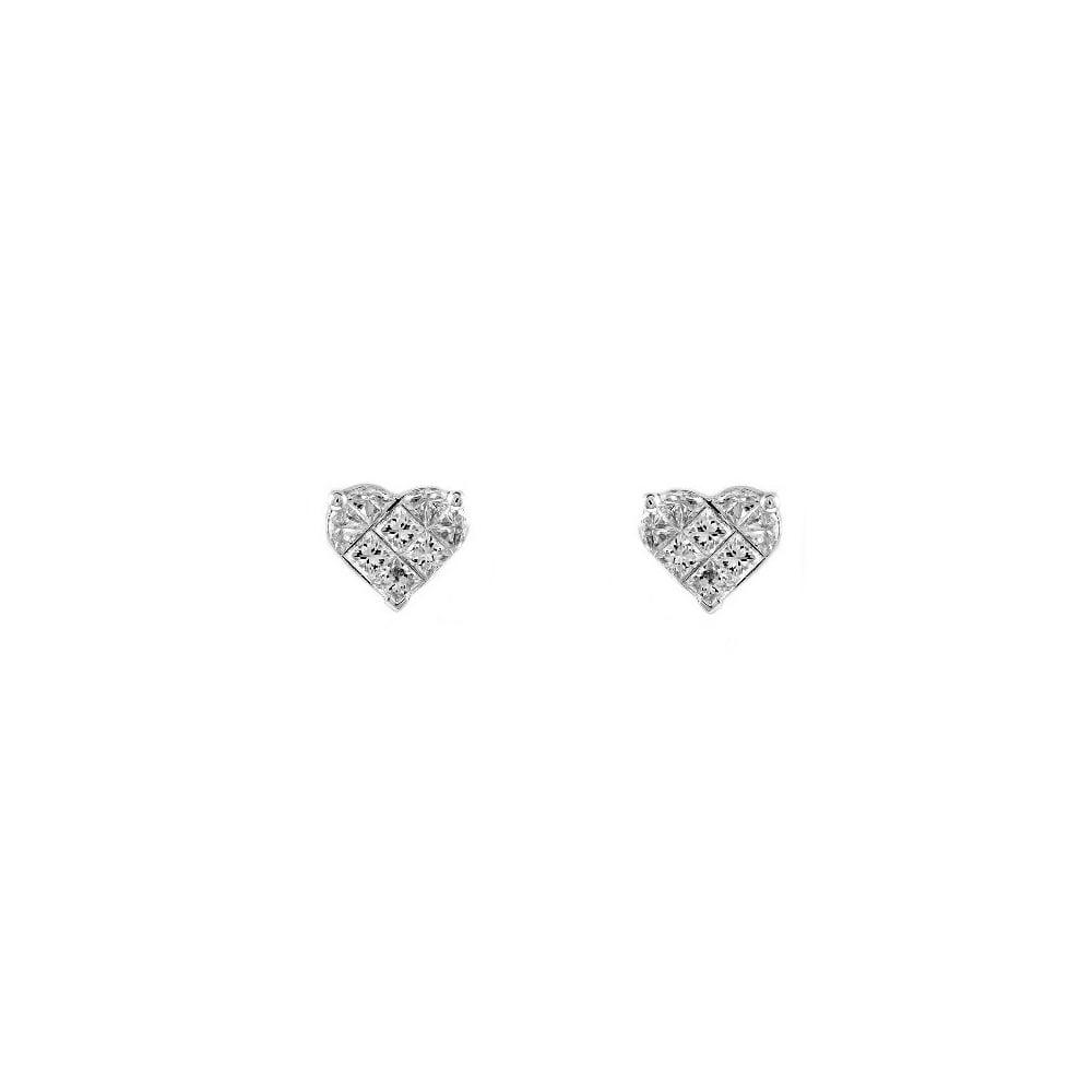 18ct White Gold 1 52ct Diamond Heart Shaped Cer Earrings