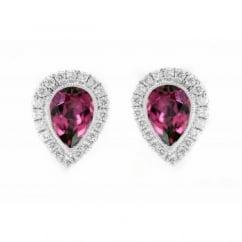 18ct white gold 1.56ct rubellite & 0.30ct diamond stud earrings