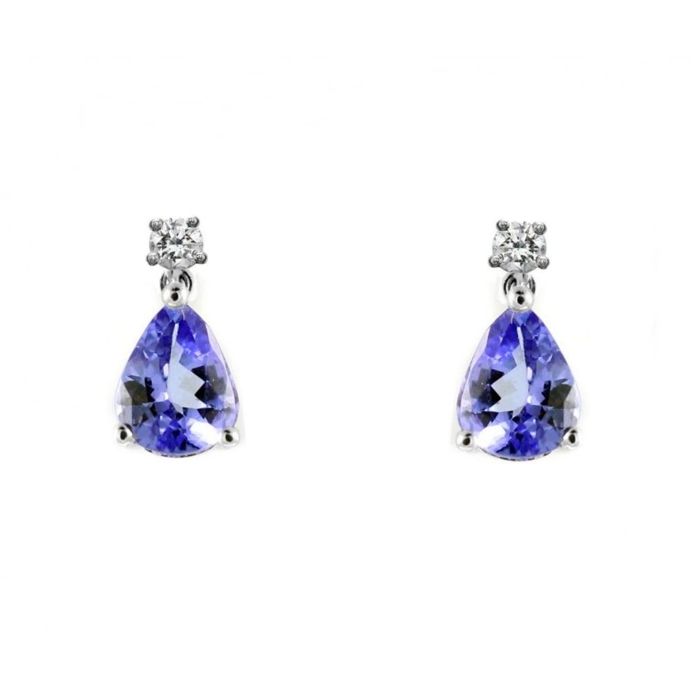 18ct White Gold 1 58ct Tanzanite 0 20ct Diamond Drop Earrings