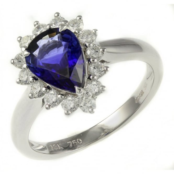 18ct white gold 1.59ct sapphire & 0.38ct diamond cluster ring.