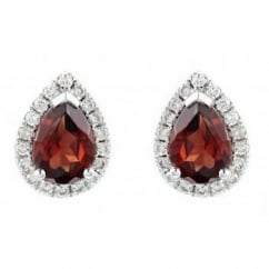 18ct white gold 1.62ct garnet & 0.23ct diamond stud earrings.
