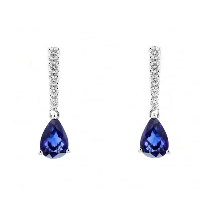 18ct white gold 1.62ct sapphire & 0.25ct diamond drop earrings