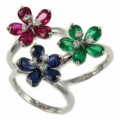 18ct white gold 1.63ct emerald & diamond flower cluster ring.