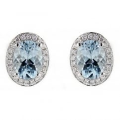 18ct white gold 1.64ct aquamarine & 0.18ct diamond earrings.